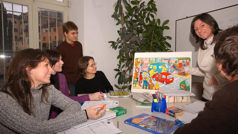 Les étudiants d'Il Sasso en train de socialiser