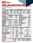 LAB Vancouver Prislista 2020