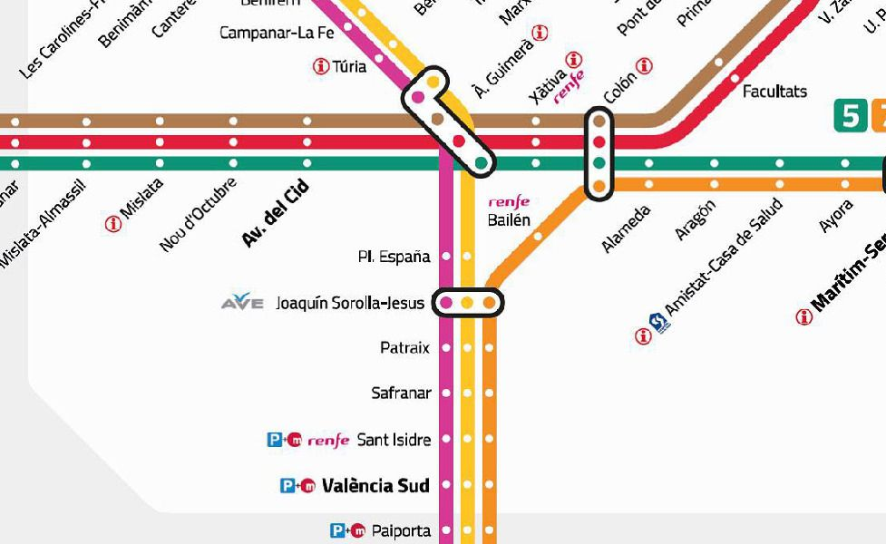 miniatúra mapy verejnej dopravy v meste Valencia