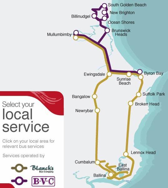 mapa do transporte público de Byron Bay
