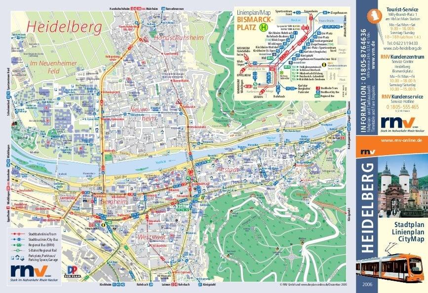 ハイデルベルクの公共交通機関路線図サムネイル