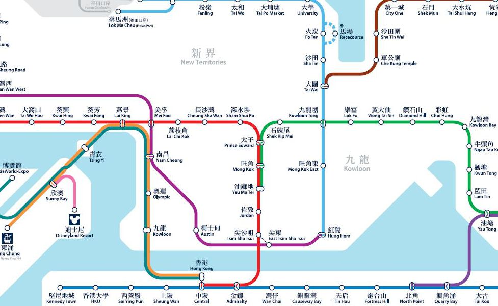 public transport map thumbnail of Hong Kong