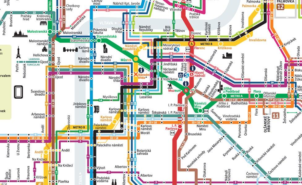 public transport map thumbnail of Prague
