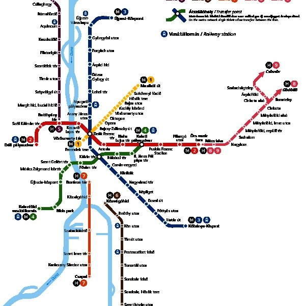 Vorschau Öffentlicher Verkehrsmittel Plan von Budapest