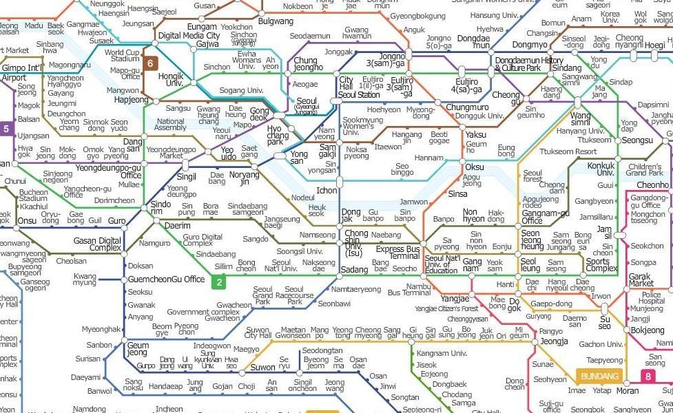 Mapa transportu publicznego Seul