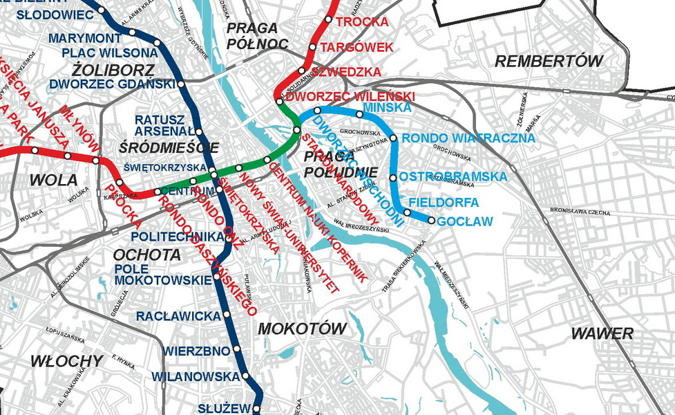 miniatúra mapy verejnej dopravy v meste Varšava