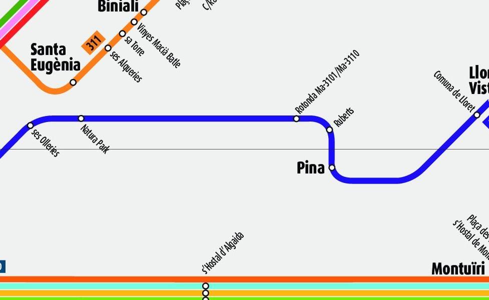 Mappa in miniatura del trasporto pubblico di Palma di Maiorca