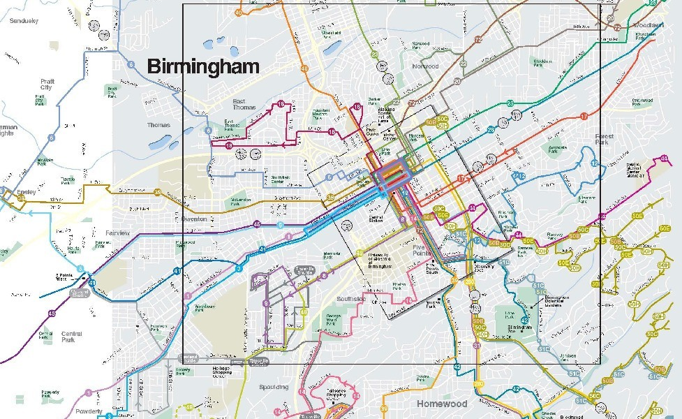public transport map thumbnail of Birmingham