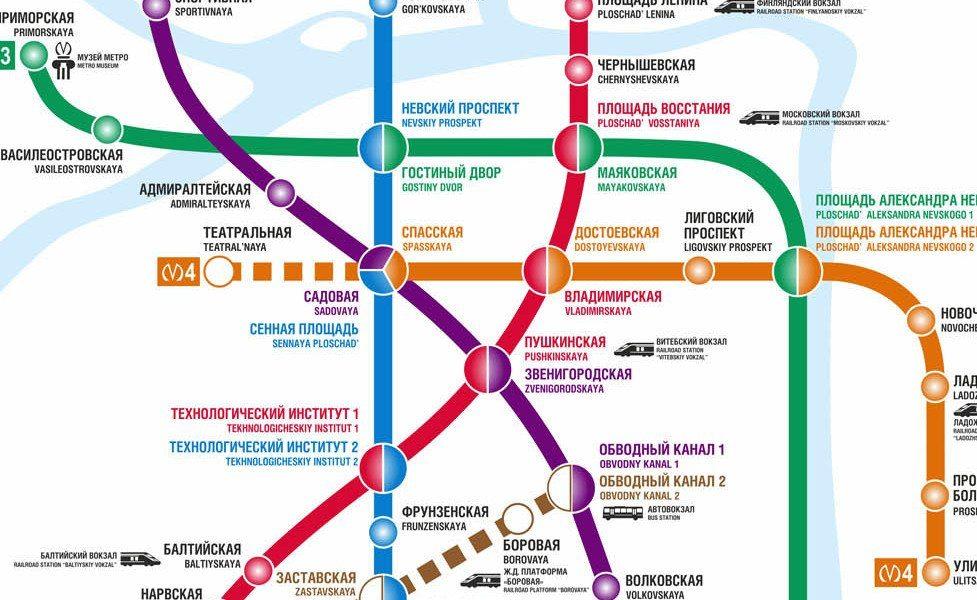 julkisen liikenteen kartan pienoiskuva kaupungissa Pietari