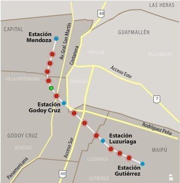 Миниизображение на картата на обществения транспорт Мендоса