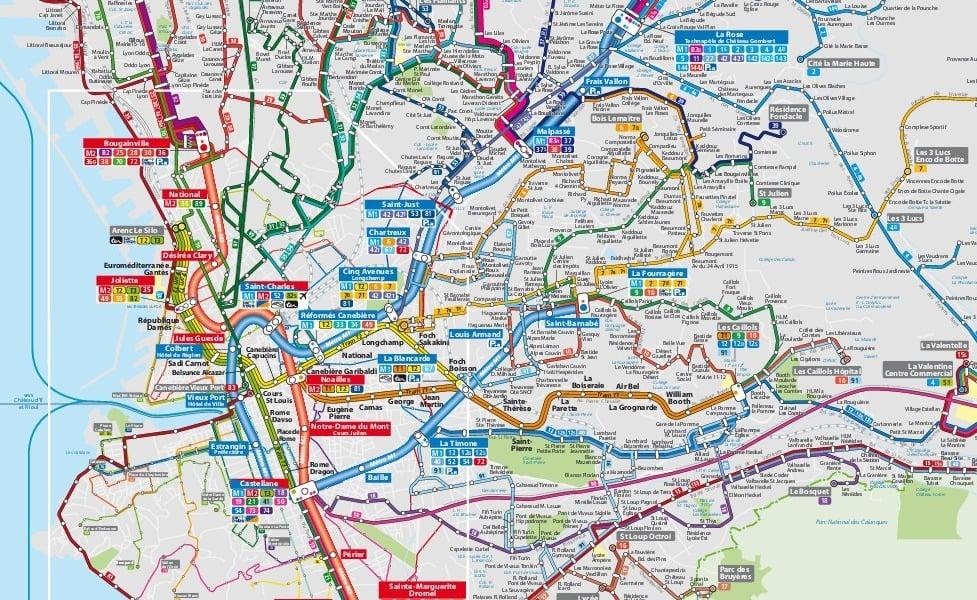 offentlig transport kort af Marseille