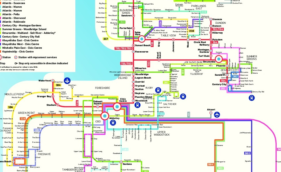 mapa en miniatura de la red de transporte público de Ciudad del Cabo