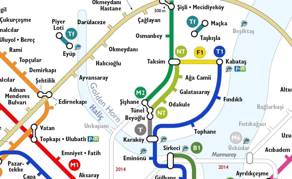 イスタンブールの公共交通機関路線図サムネイル