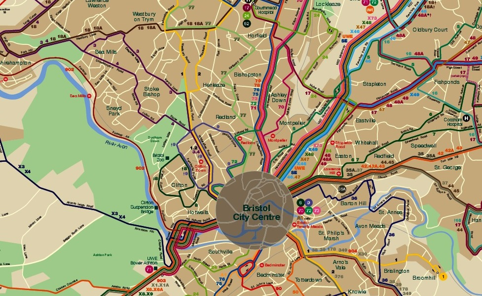布里斯托尔公共交通地图缩略图