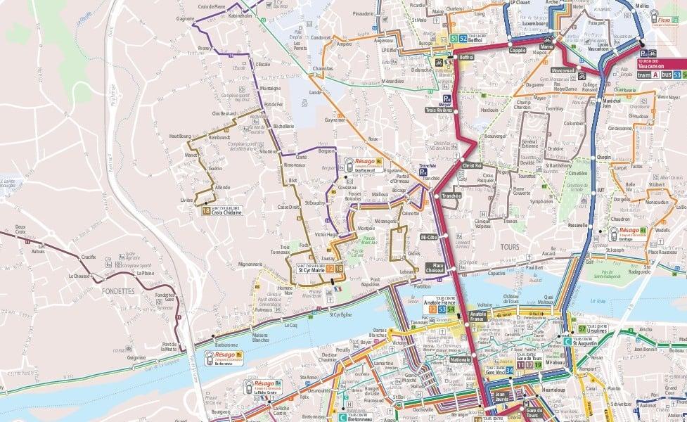 Mapa městské hromadné dopravy města Tours
