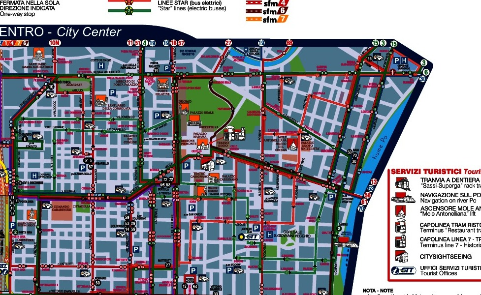 トリノの公共交通機関路線図サムネイル