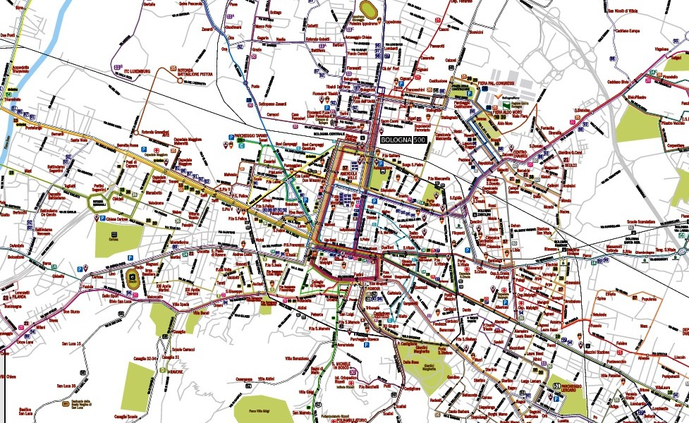 public transport map thumbnail of Bologna