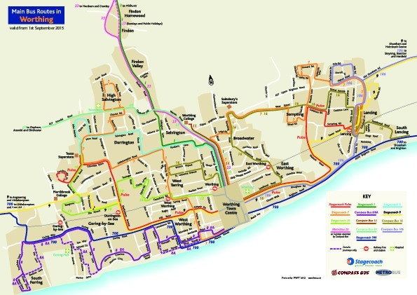 public transport map thumbnail of Worthing