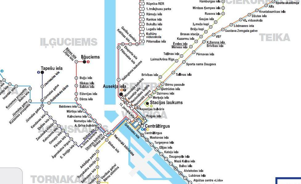 Эскиз карты общественного транспорта: Рига