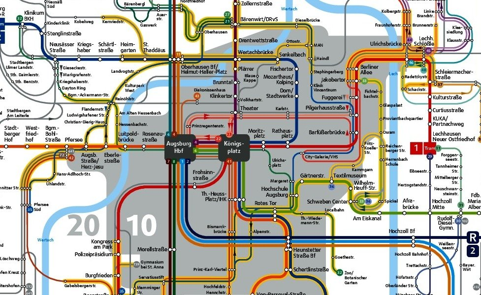public transport map thumbnail of Augsburg