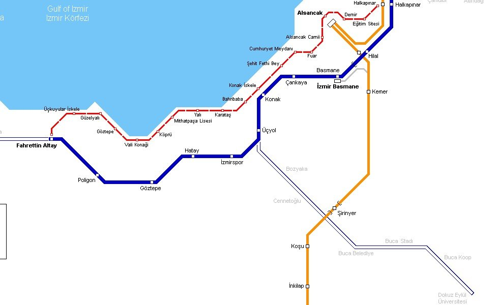イズミルの公共交通機関路線図サムネイル