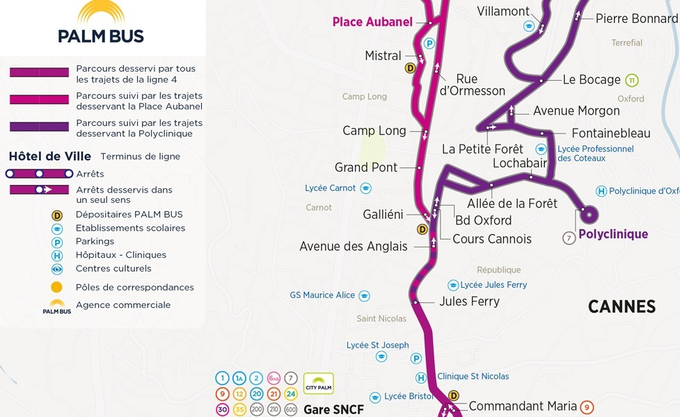public transport map thumbnail of Cannes