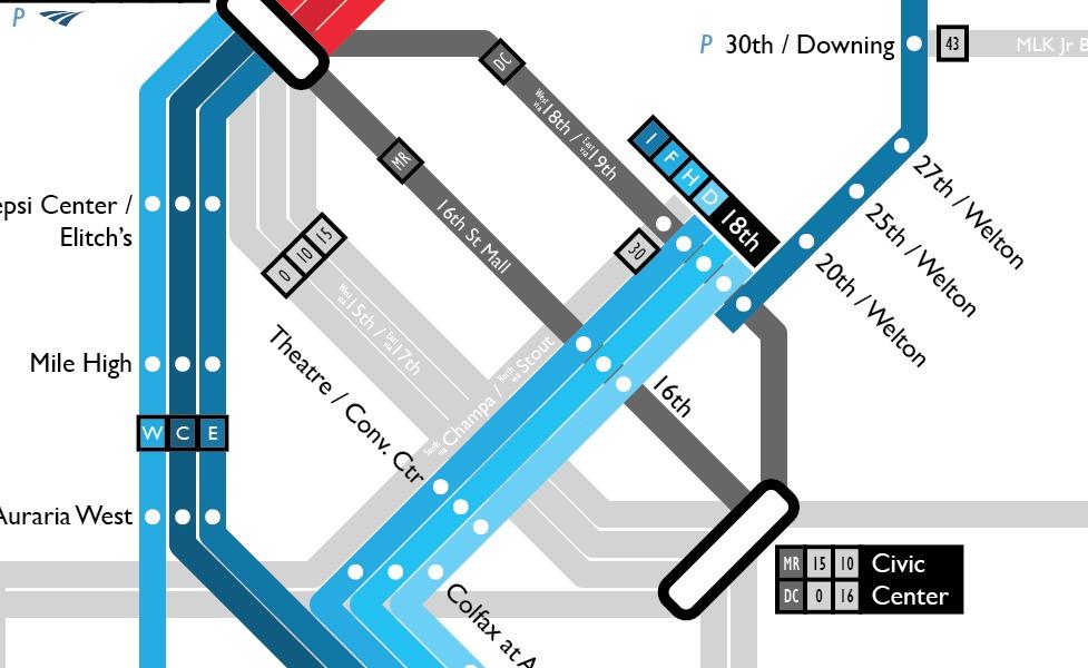 デンバーの公共交通機関路線図サムネイル