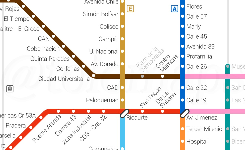 public transport map thumbnail of Bogota
