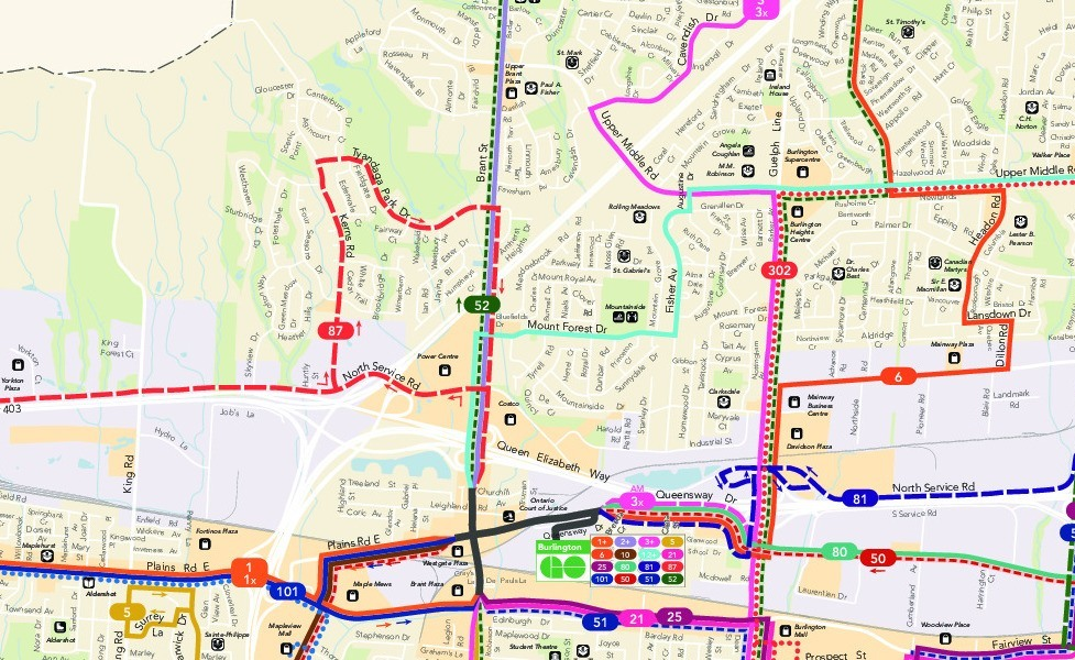 public transport map thumbnail of Burlington