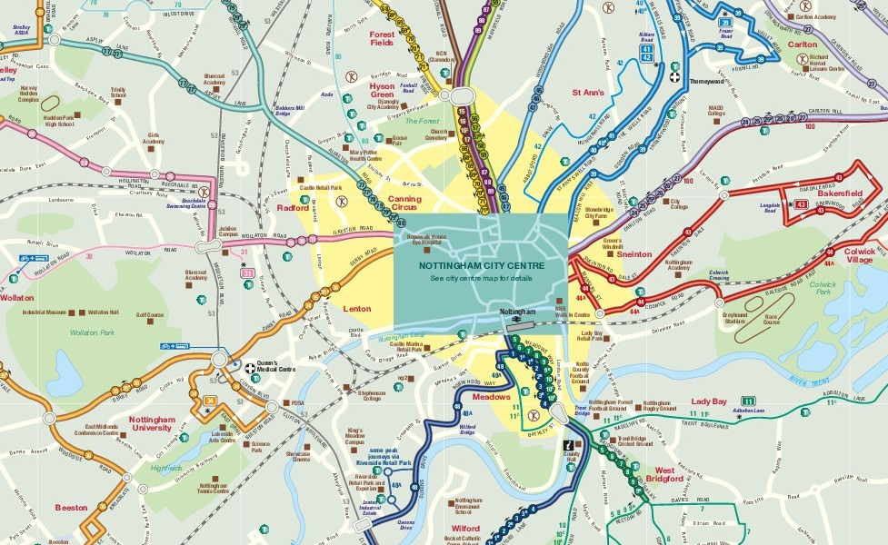 public transport map thumbnail of Nottingham