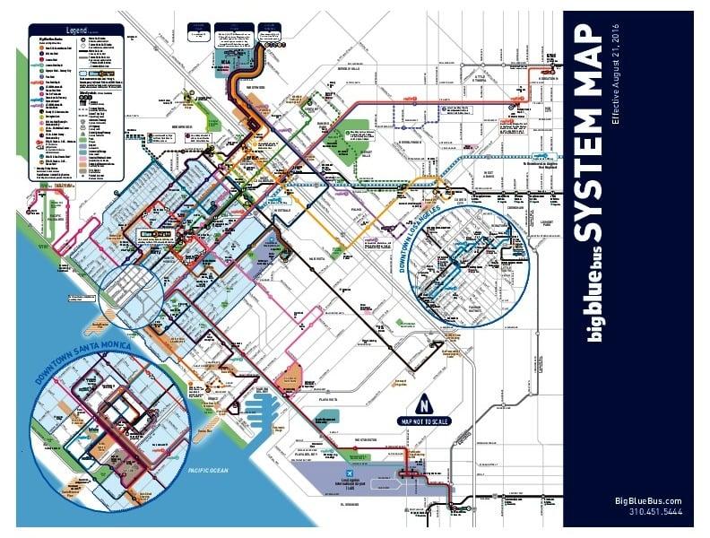 mapa en miniatura de la red de transporte público de Santa Mónica
