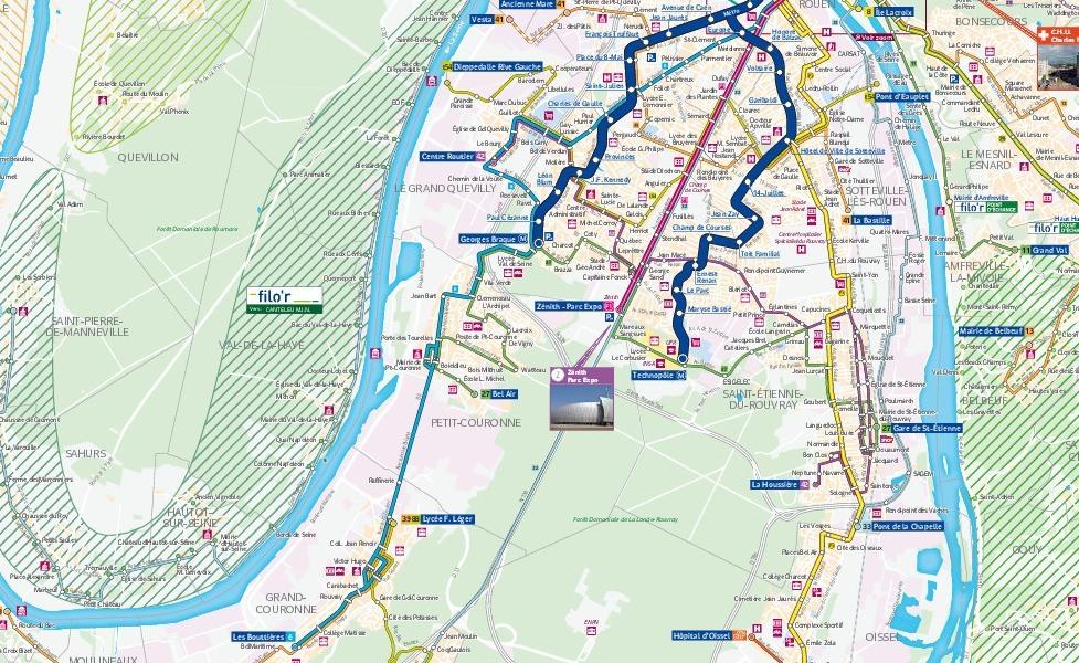 ภาพแผนที่ระบบขนส่งมวลชนรูอ็อง