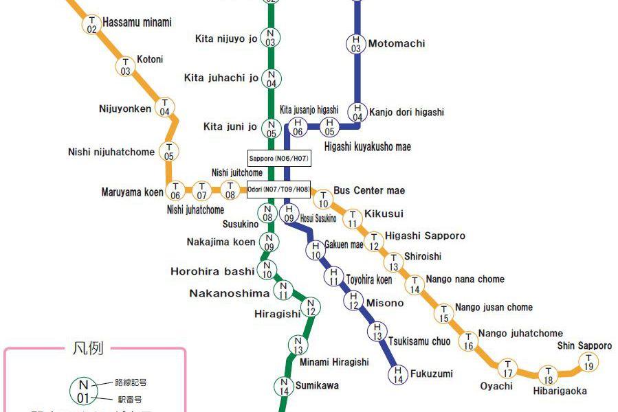 Kaart van het openbaar vervoer in Sapporo