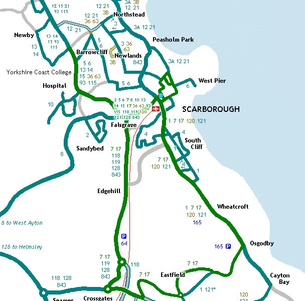 Mapa transportu publicznego Scarborough