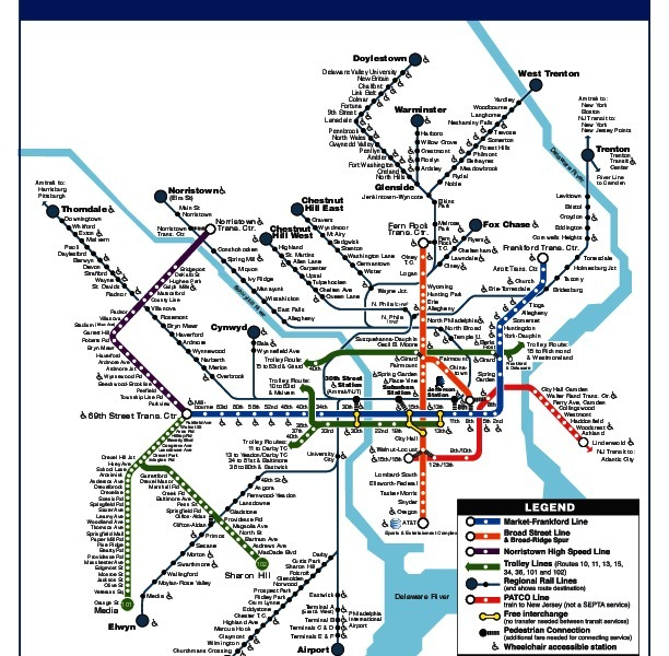 public transport map thumbnail of Philadelphia