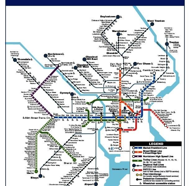 Carte miniature de transport public  de Philadelphie