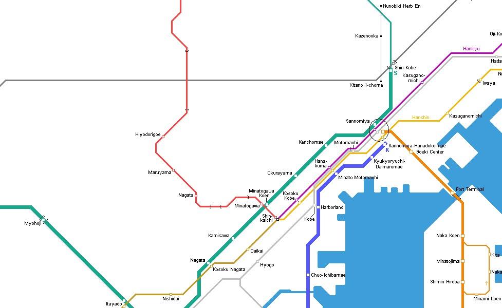 神戸の公共交通機関路線図サムネイル