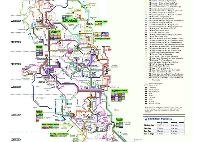 miniatúra mapy verejnej dopravy v meste Gold Coast