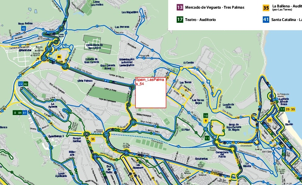 mapa en miniatura de la red de transporte público de Las Palmas