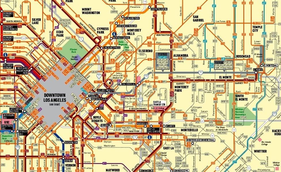 mapa do transporte público de Los Angeles