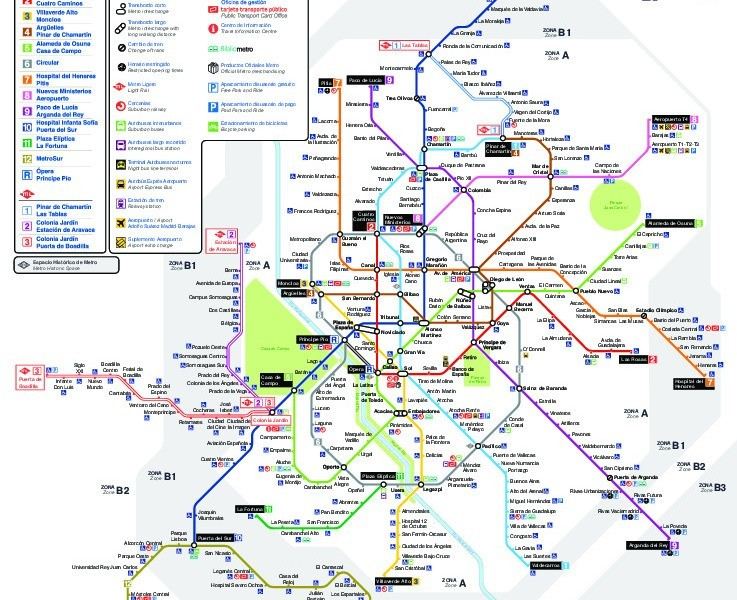 public transport map thumbnail of Madrid