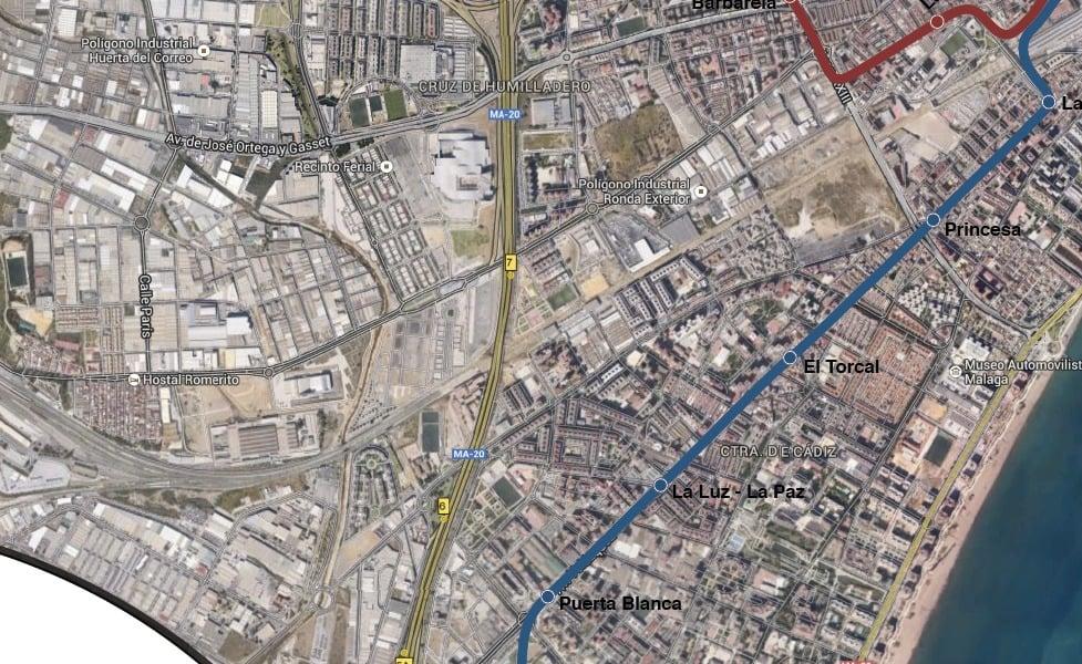 Mapa transportu publicznego Malaga
