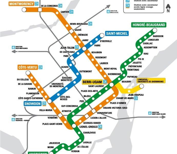 Миниизображение на картата на обществения транспорт Монреал