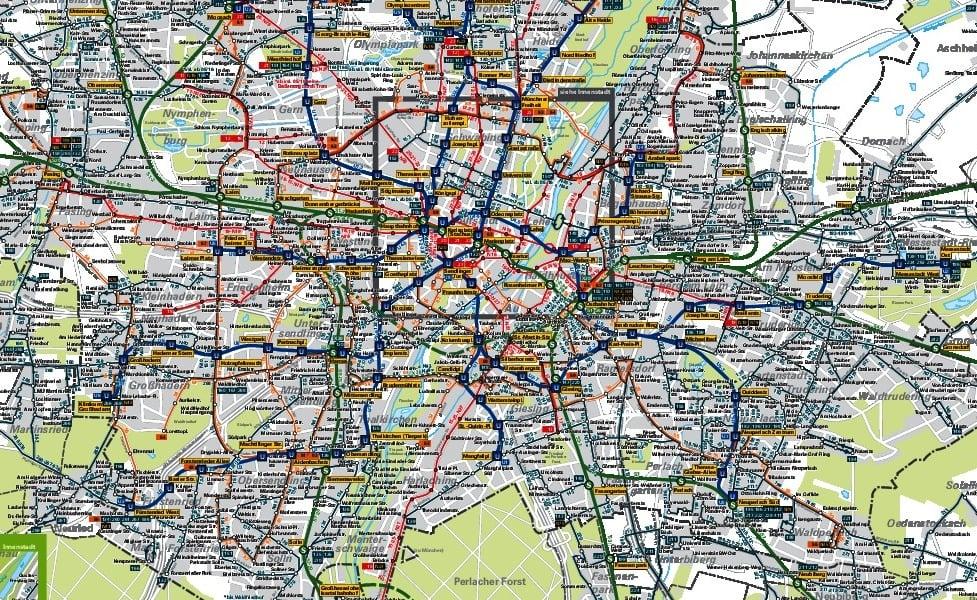 Миниизображение на картата на обществения транспорт Мюнхен