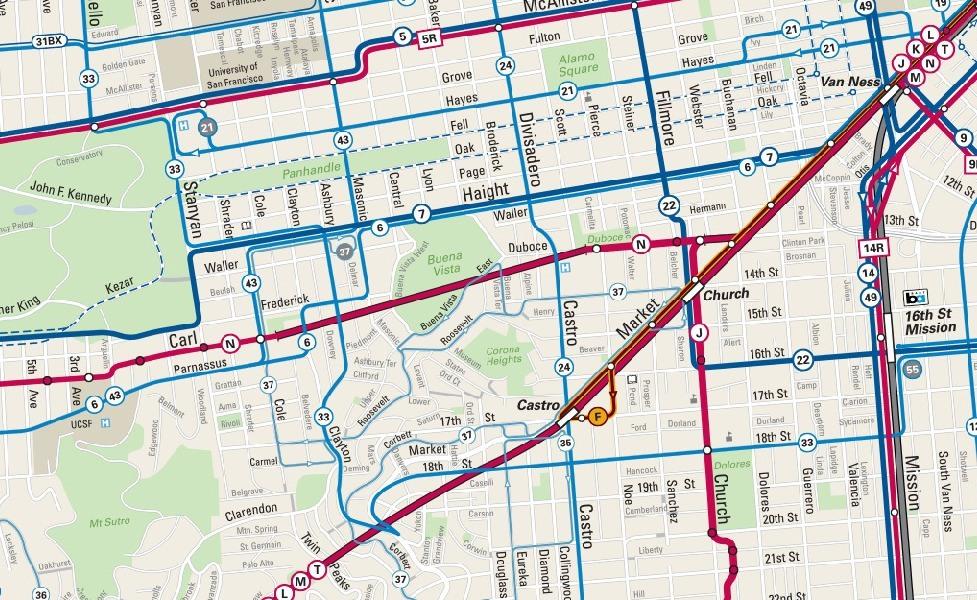 Мініатюра мапи громадського транспорту Сан-Франциско