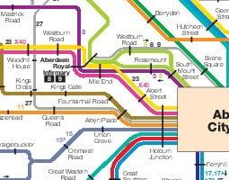 Mapa de transporte público de Aberdeen