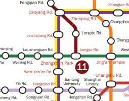 Mapa veřejné dopravy města Šanghaj