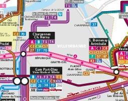 リヨン公共交通機関地図