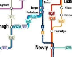 Belfast Mappa dei trasporti pubblici