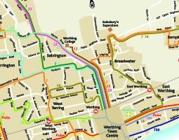 Worthing tömegközlekedési térkép